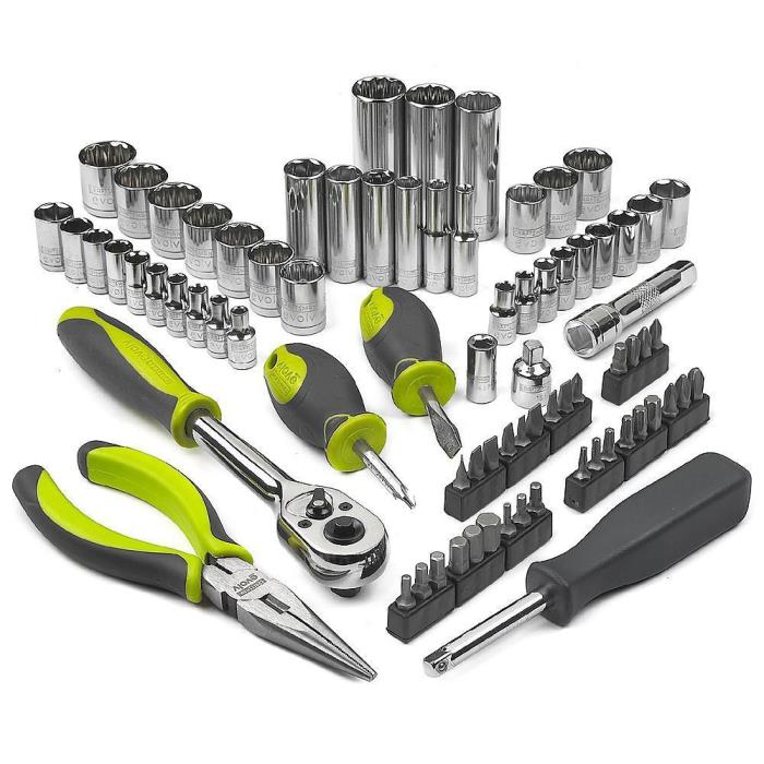 77 pc Mechanics Tool Set Kit Ergonomic Durable Heavy Duty