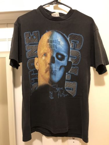 Vintage 1998 WWF Stone Cold Steve Austin Face/Skull Shirt Large Rare