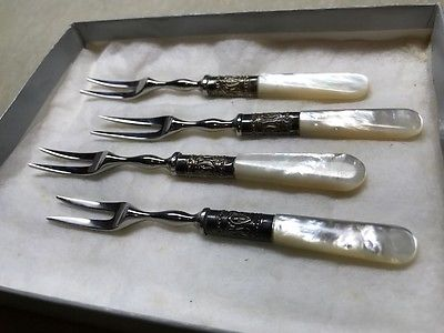Set of 4 Mother-of-Pearl & Silver Plate Snail Forks