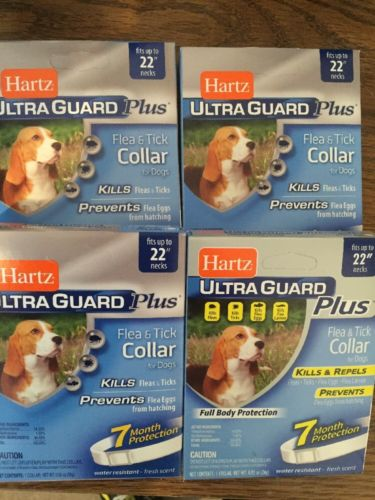 Lot Of 4 HARTZ Ultra Guard Plus  Flea Tick Collars Dogs Fits Up To 22