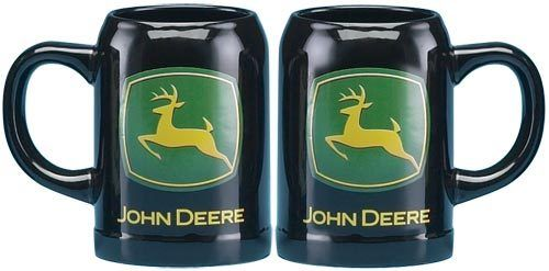 2000 John Deere Logo Black 16.9oz Stoneware Mug