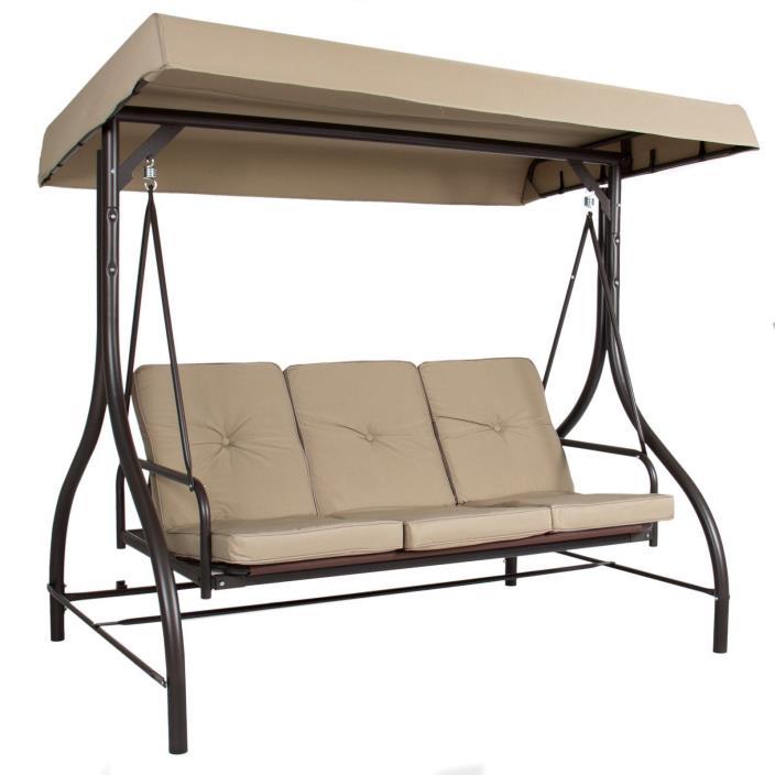 Converting Outdoor Swing Canopy Hammock Seats 3 Patio Deck Furniture Tan