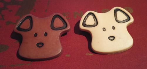 Vintage Dog Puppy Face Buttons - Brown & Beige - 2 Buttons - New Old Stock