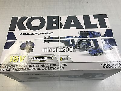 Kobalt 18v 4-tool Lithium-Ion kit  NEW