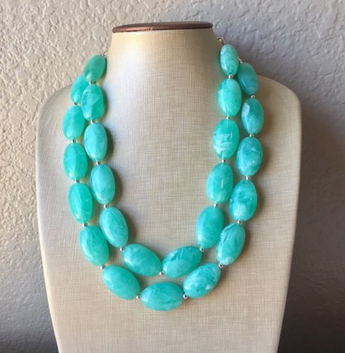 Mint green Chunky Statement Necklace Handmade Big Bead Fashion Jewelry Bib Stone