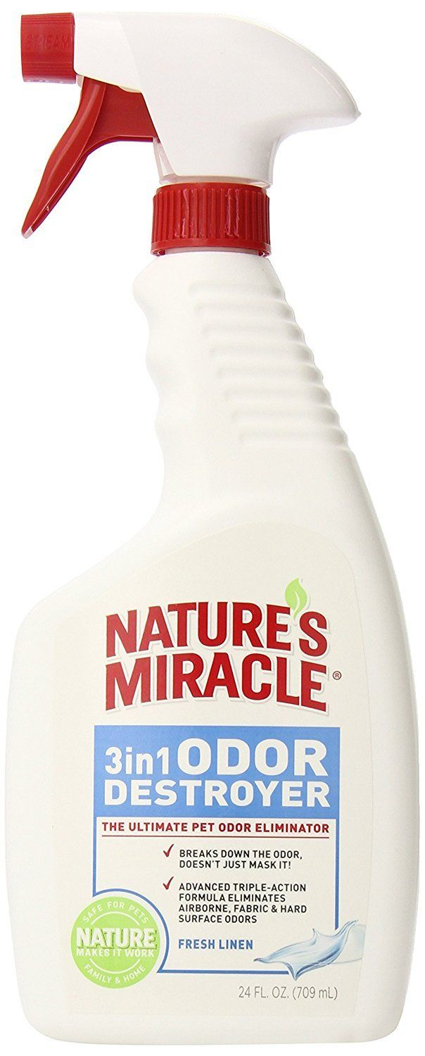 Nature's Miracle 3-in-1 Odor Destroyer, Fresh Linen Scent, 24-Ounce Spray (P-545
