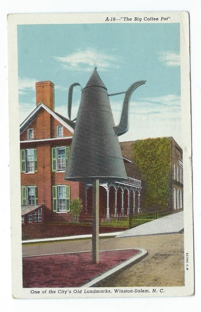 Vintage Postcard The Big Coffee Pot, Winston-Salem, N.C.