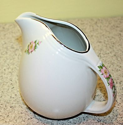 Hall China 16 oz Pitcher Creamer Rose White Floral Bouquet Flower Parade Handle