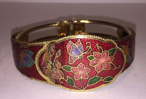 Vintage Antique Asian Butterfly Bracelet Enamel And Brass Japanese Jewelry