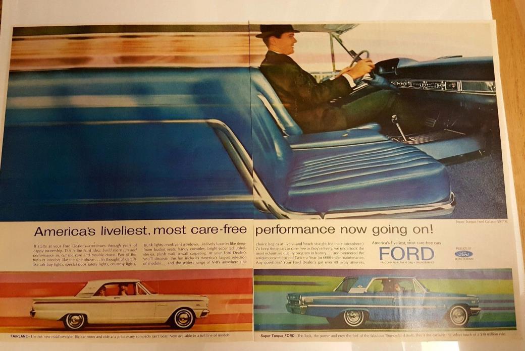 1960's Super Torque Ford Galaxie 500 XL Blue CAR Print Vintage Ad Thunderbird