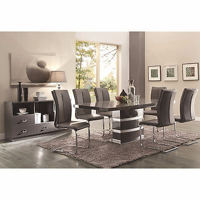 SLEEK HIGH GLOSS TAUPE DINING TABLE & 6 CHAIRS DINING ROOM FURNITURE SET