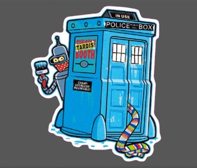 FUTURAMA TARDIS STICKER, FUTURAMA DR WHO TARDIS STICKER DECAL