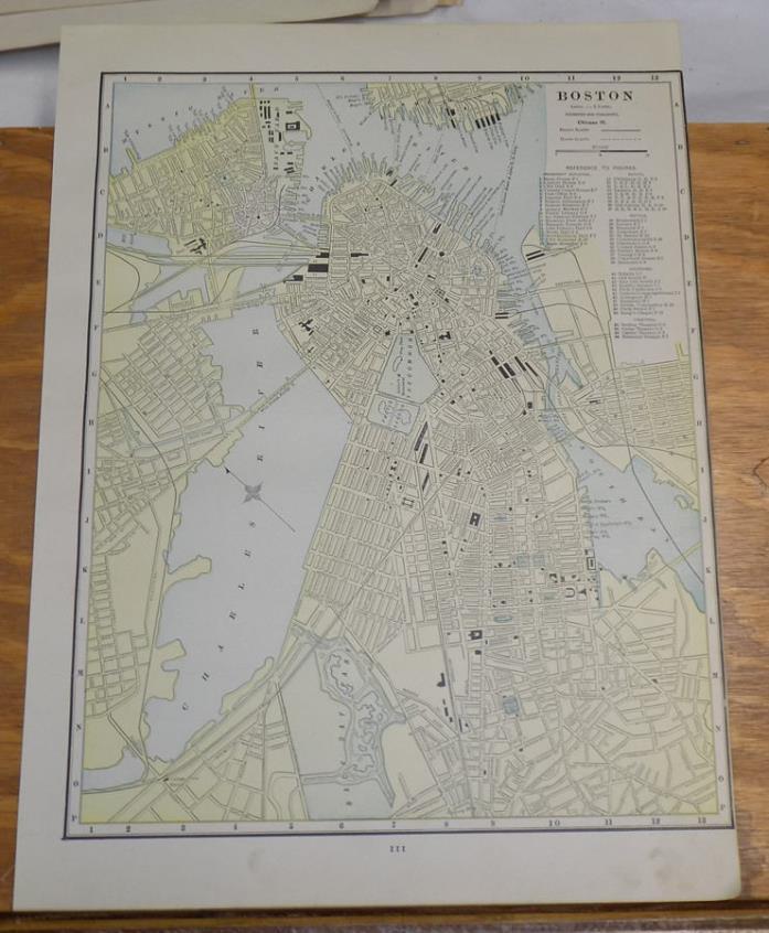 1891 Antique CRAM Map///BOSTON Massachusetts