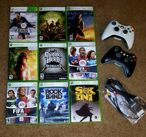 Lot of 9 USED Xbox Games & NEW Console Cable - FIFA 14, HALO & More!
