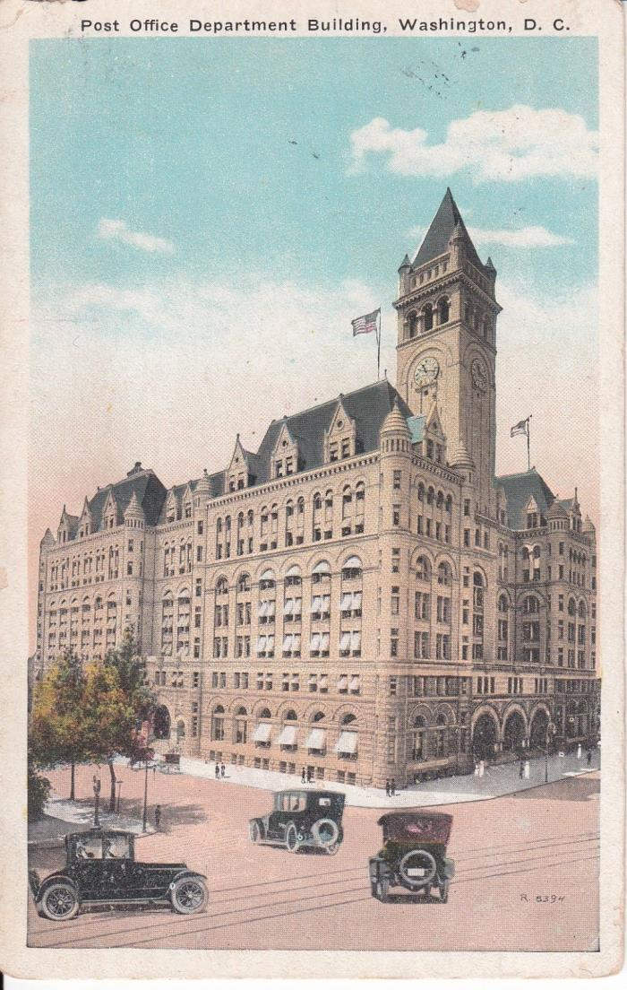 POST OFFICE DEPARTMENT BUILDING WASHINGTON DC POSTCARD OLD CARS
