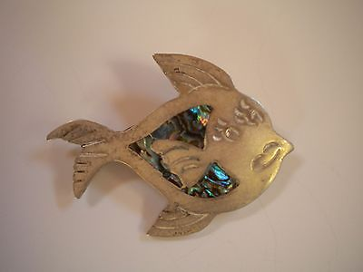Silver and Abalone Fish Brooch
