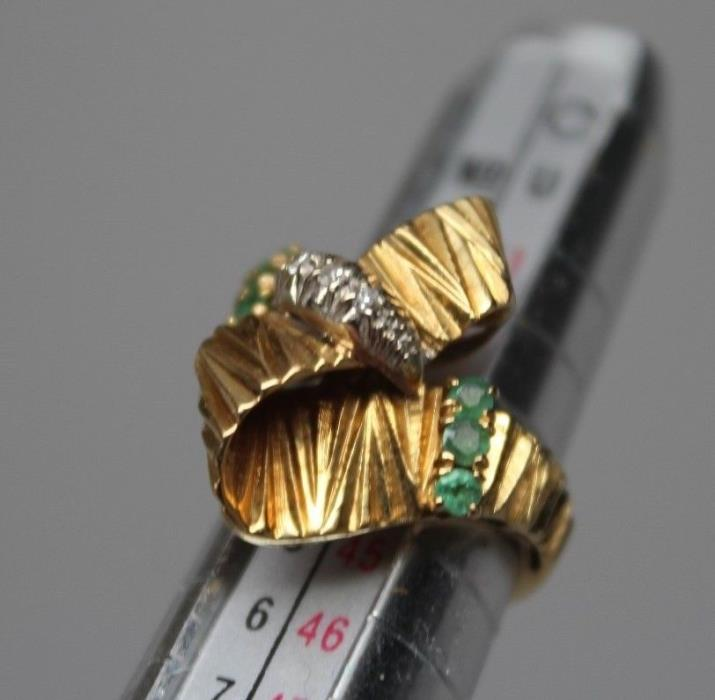 Size 3 Solid 18k Diamond & Emerald Ring Womens Art Deco