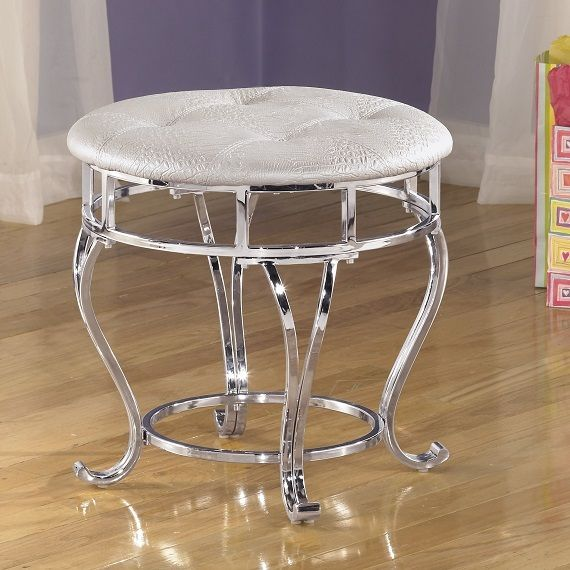 Silver Vanity Makeup Stool Bench Faux Leather Cushion Bedroom Bath Crome White