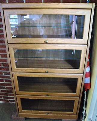 Barrister Bookcase Cabinet, 4 Section with Extra Glass Shelves