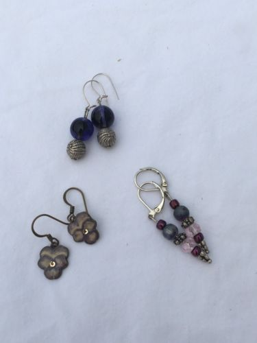 Lot of 3 Handmade Earrings Estate