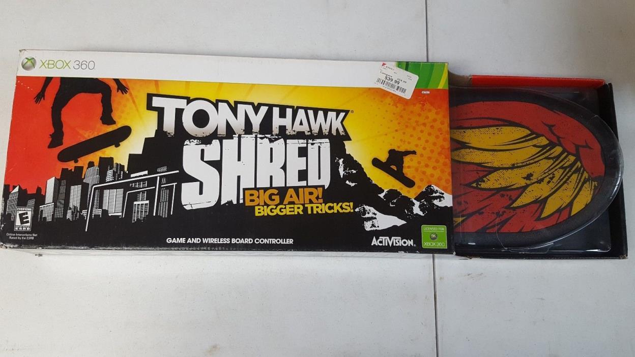 TONY HAWK BIG AIR SHREDDED BOARD AND GAME XBOX 360 BUNDLE