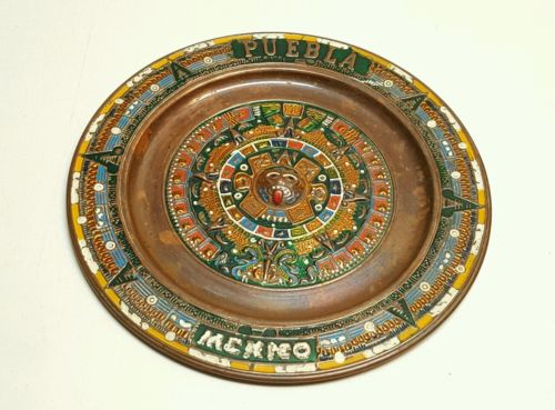 BEAUTIFUL COLORFUL VINTAGE AZTEC CALENDAR PUBLA MEXICO WALL MOUNT READY