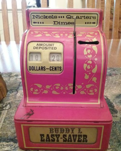 Vintage 1970's Buddy L. Easy Saver Tin Coin Cash Register Bank