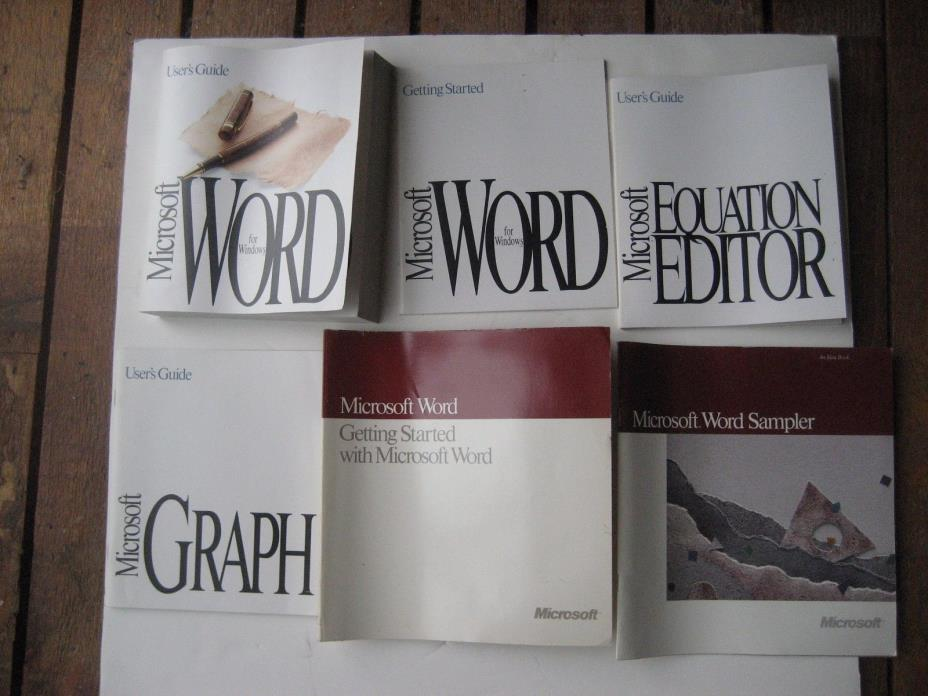 Microsoft Word for Windows Version 2.0 & 4.0 manuals