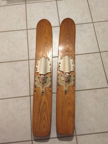 Vintage Wooden Kids Youth Trainer Water Skis Wood - 41