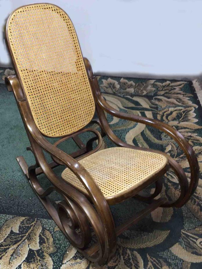 Set of 2 Vintage Bentwood Rockers (Rattan & Wood Rocking Chair), Walnut Finish