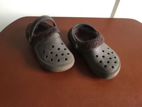 Boys Crocs Sandals Clogs Kids Size 10 C 11 Lined Brown