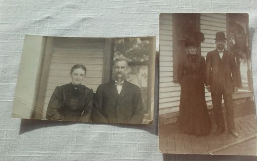 1911 Photo Postcard Couple Feather Hat Large moustache Family name- Loveland
