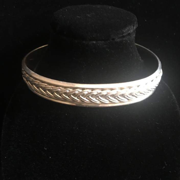 Vintage Sterling Silver Mexico 925 Braided Solid Cuff Bracelet