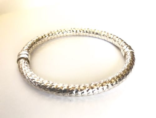 MILOR Italy Sterling Silver 925 Diamond Pattern Hinged Bangle