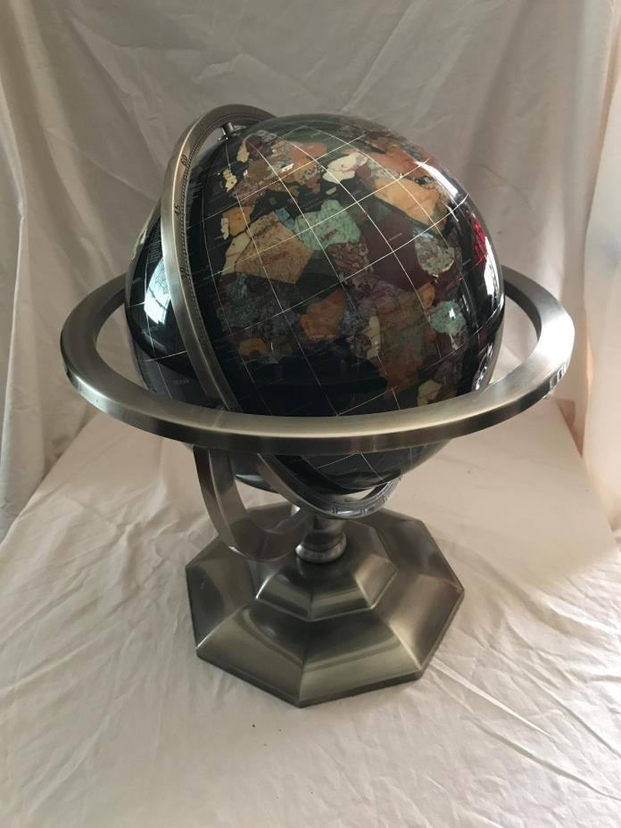 Gem stone 12 inch world globe brushed silver metal stand black onyx oceans