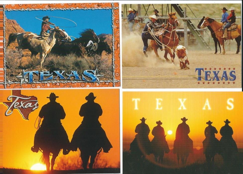 10 Texas Cowboy and Horse Continental Chrome Postcards