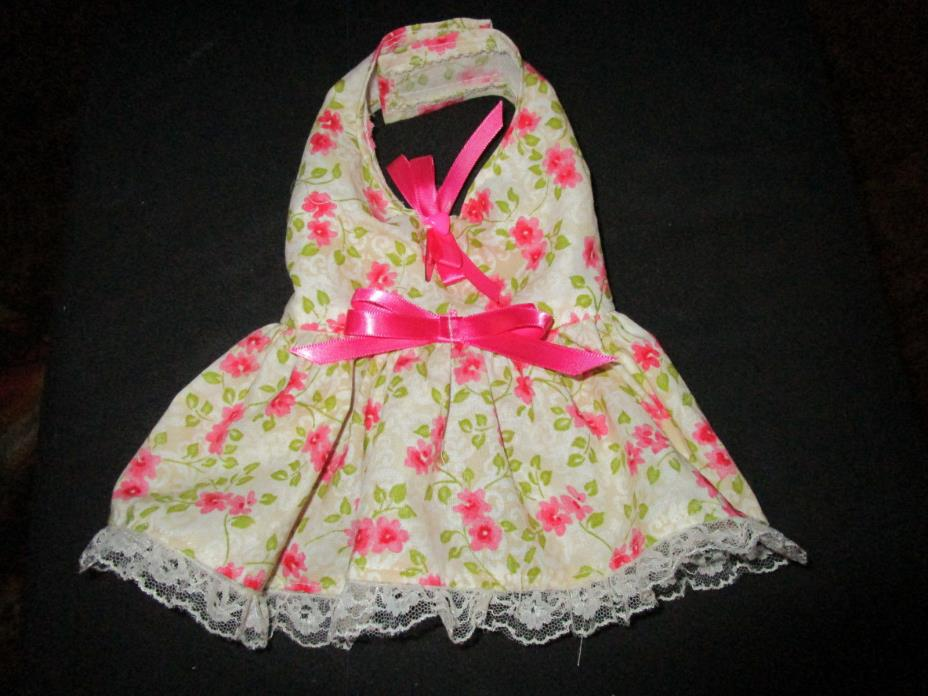 XS female Dog Dress [pink,button] Cotton hand crafted