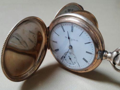 Elgin Pocket Watch Size 18 Ornate Dueber Full Hunter Case PARTS REPAIR