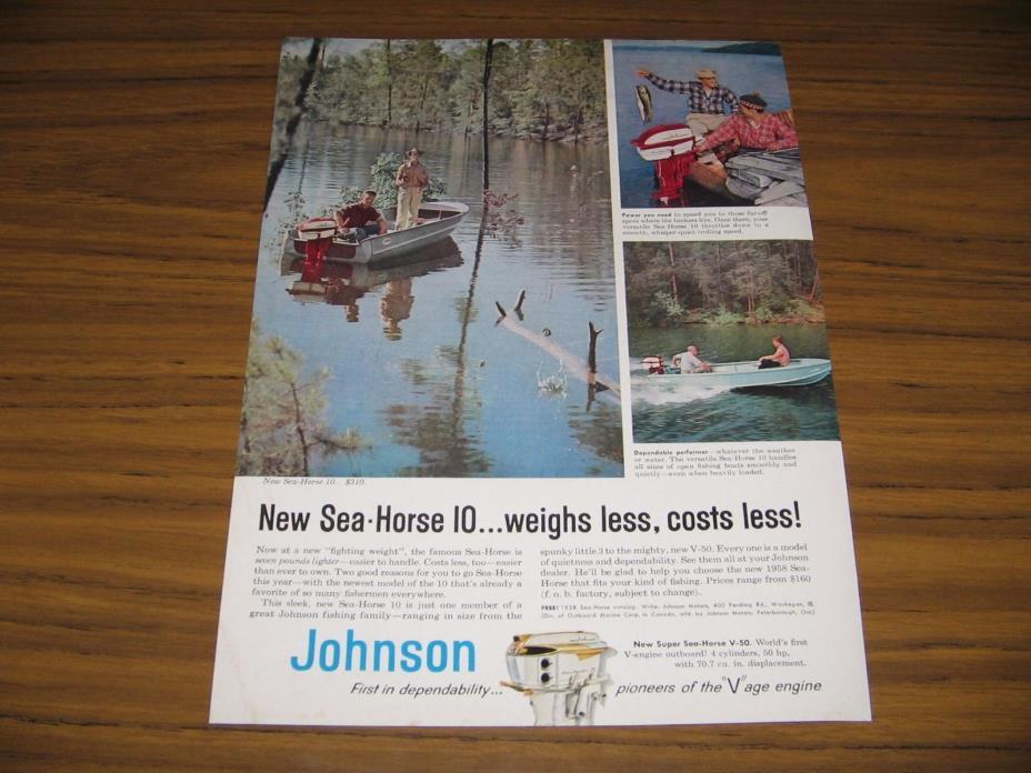 1958 Print Ad Johnson Sea-Horse 10 Outboard Motors Men Fishing in Boats