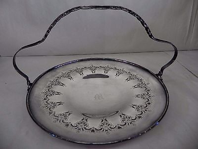 Antique Sheffield Silver Plated Basket Platter Engraved with Ornate Carvings