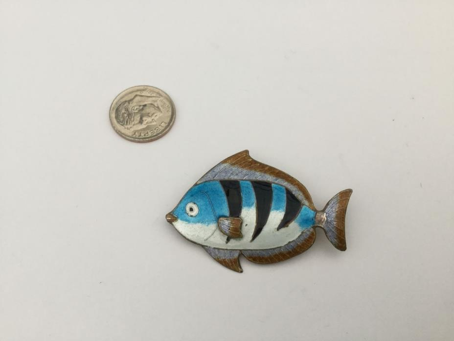 Vintage Sterling Silver Guilloche Enameled Fish Pin Brooch, Beautiful!