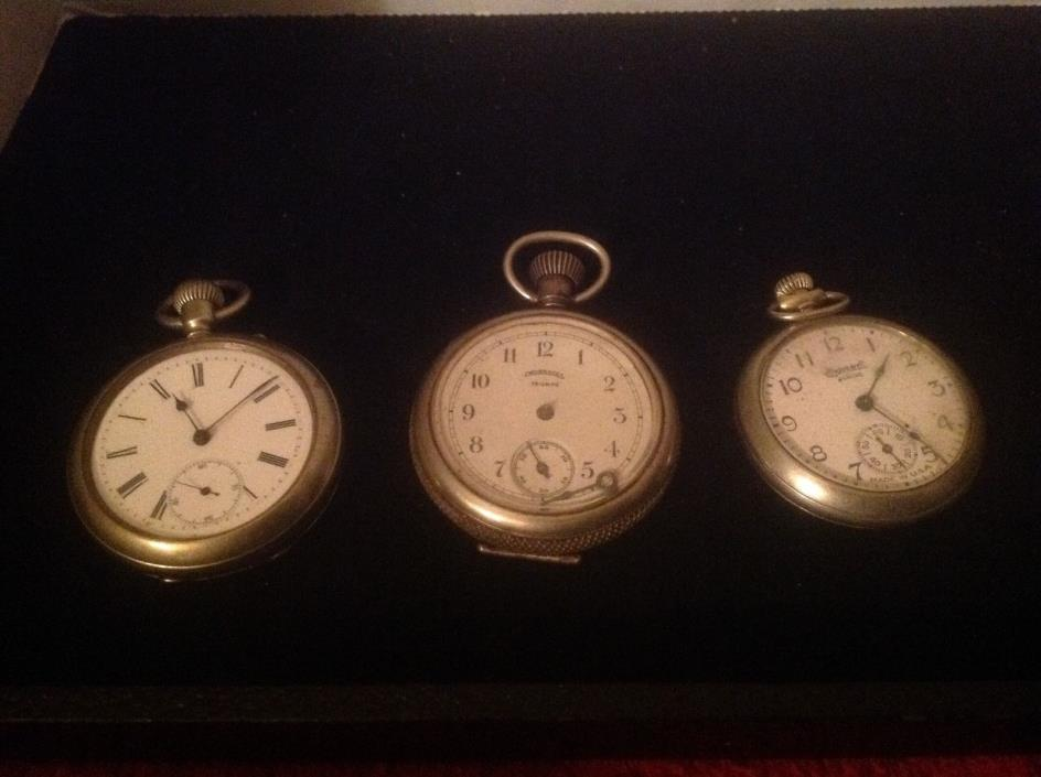 Collectible set of (3) pocket watches enamel faced for repair/parts