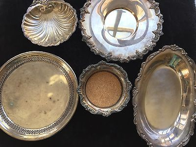 Lot of 5 Vintage Silver Plate Serving Trays & Bowl Towle and Poole