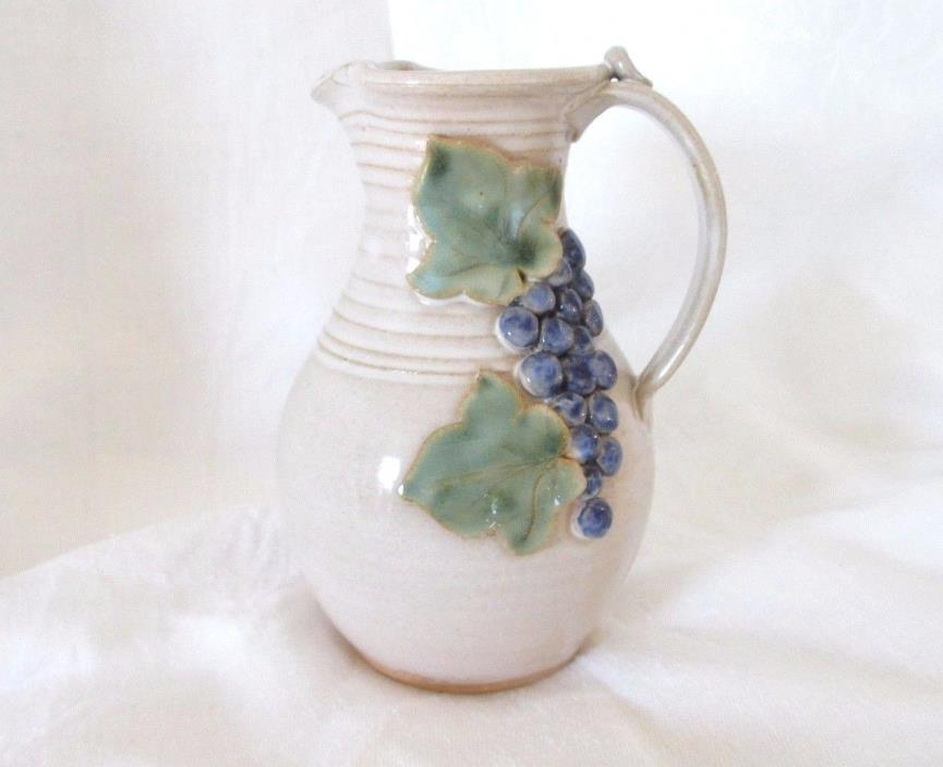 Carly Moorefield Ohio Pottery Handmade Pitcher/Creamer Grapes Leaves, Signed