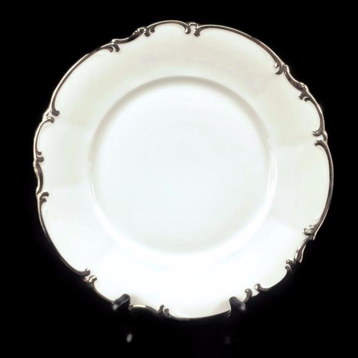 Hutschenreuther Selb Sylvia Revere Pasco White Platinum Trim Dinner Plate 10 1/8