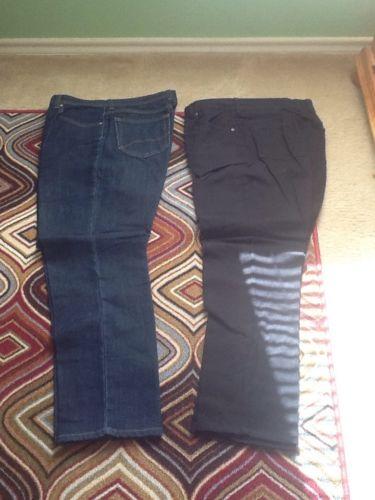 Lot Of Clothes 10 Pair Women Pants Sz 12 Black, Blue Jeans Ladies Slacks Bottom