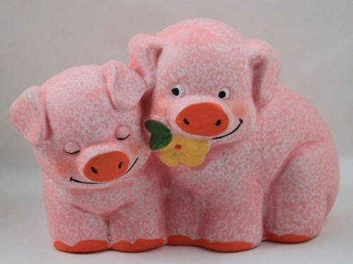 Coin Bank Ceramic Pink Pigs Stopper Baby Nursery Farm Animals