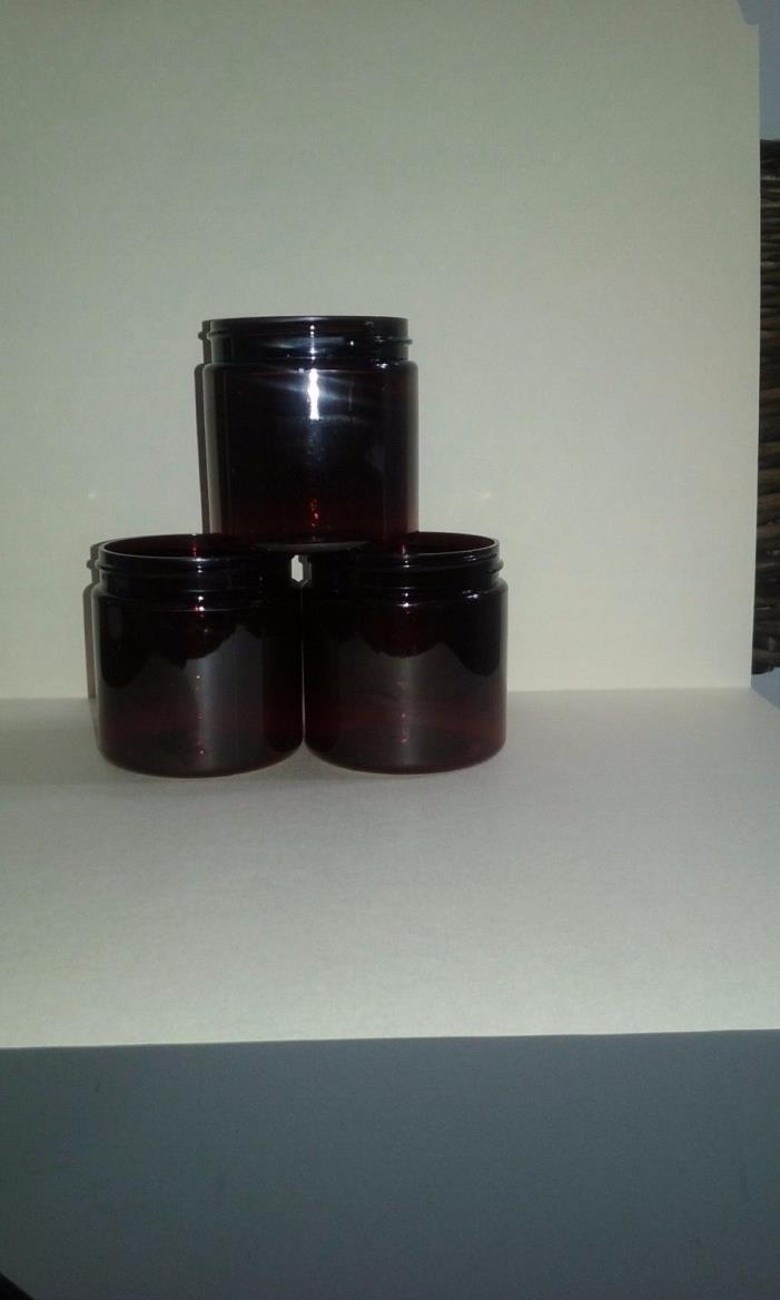 4 oz AMBER PLASTIC JARS (1 LOT OF 40 JARS)