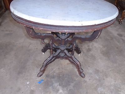 ANTIQUE OVAL MARBLE TOP VICTORIANWALNUT STAND