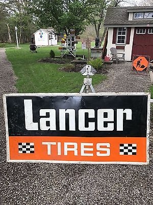 VERY RARE VINTAGE ORIGINAL LANCER TIRES SIGN 3 by 6 YES I WILL SHIP